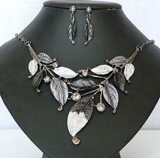 Fashion Punk Retro Enamel Leaf Cluster Rhinestone Earring Necklace Set Jewelery