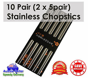 10-pairs-Stainless-Steel-Dishwasher-Safe-Light-Chopsticks-22-5cm-Quality-Cutlery