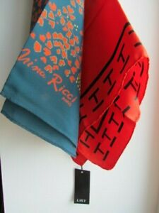 Nina-Ricci-List-Scarves-Lot-Geometric-Abstract-Silk-New-tags