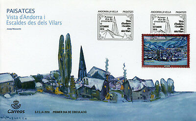 Active Spanish Andorra 2018 Fdc Josep Moscardo 1v Cover Landscapes Art Paintings Stamps Consumers First
