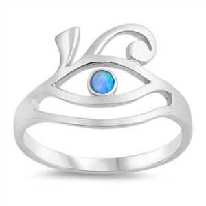 Blue Opal .925 Sterling Silver Ring Sizes 5-10