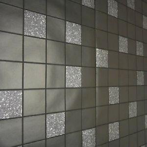 Details zu 89130 Fliesen auf einer Rolle Granit Schwarz Küche & Badezimmer  Tapete