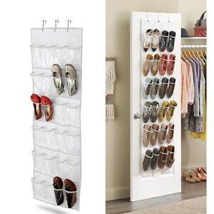 over the door clear shoes organizer hanging storage rack 24 pockets white ebay. Black Bedroom Furniture Sets. Home Design Ideas