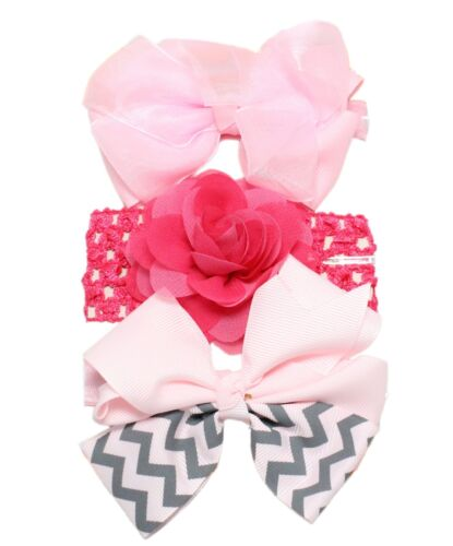 3pc Baby Girl Elastic Headbands 0//3//6//9//12//18//24 Months Pink Lilac Bow Flower