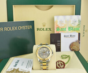 ROLEX-Midsize-18kt-Gold-amp-SS-YACHTMASTER-Silver-Gray-168623-SANT-BLANC