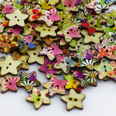 Sumptuous 100pcs Star Shape Flower Wood Buttons For Sewing Mending Scrapbooking