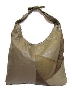 VINTAGE-REEM-Taupe-Brown-Patchwork-Ostrich-Leather-Sling-Hobo-Shoulder-Bag-Purse