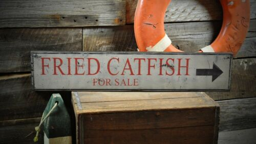 Rustic Hand Made Vintage Wood Sign ENS1000323 Fried Catfish For Sale Arrow Sign