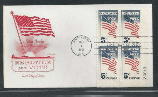 # 1249 REGISTER AND VOTE 1964 Artmaster Plate Block First Day Cover