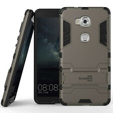 For Huawei Honor 5X Case Gray Hard Hybrid Dual Layer Stand Phone Cover