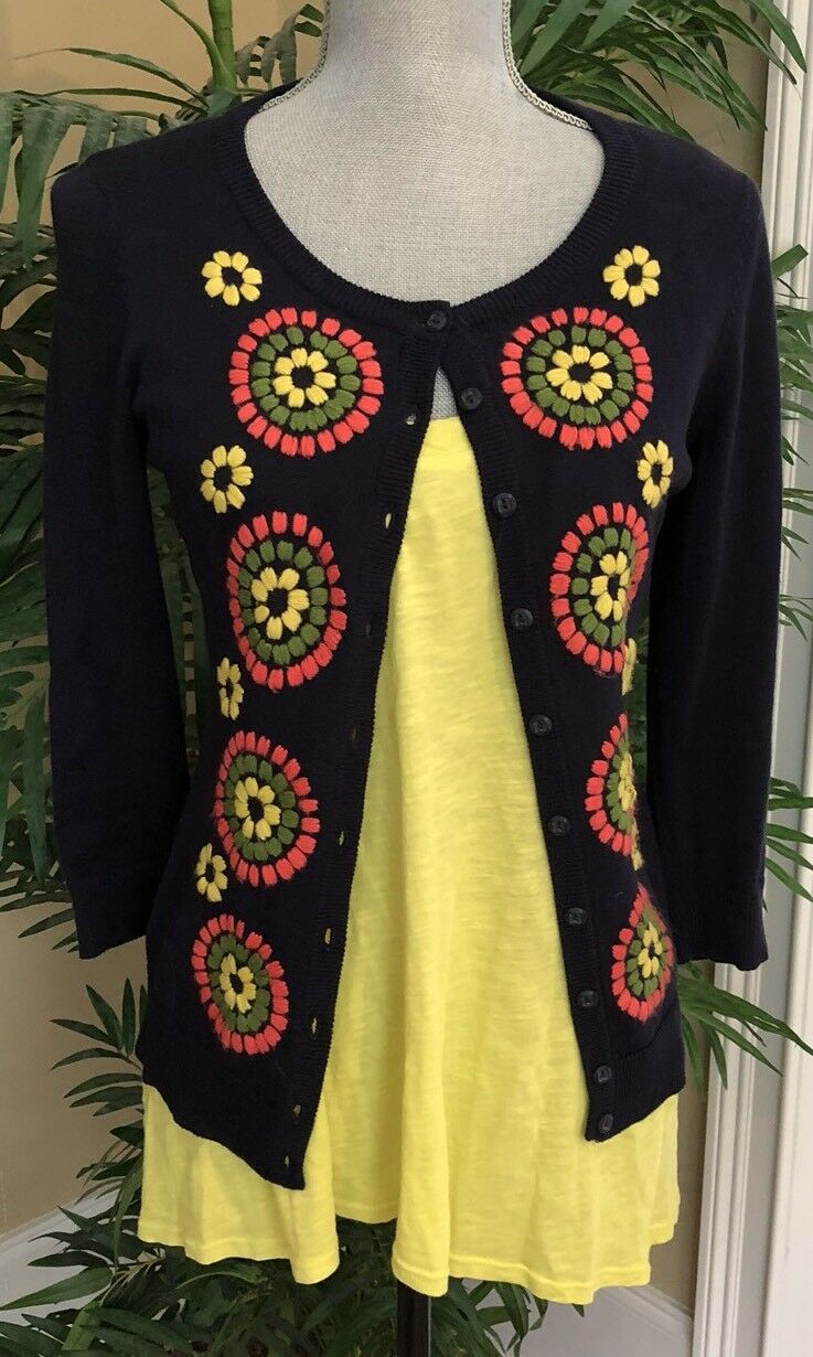 ANTHROPOLOGIE CARDIGAN BY TABITHA, SMALL, NAVY W EMBROIDERY