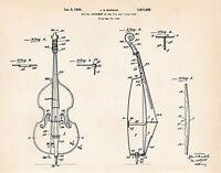 1934 Cello Drawing Poster Patent Print Illustration Decor Wall Art Burdick
