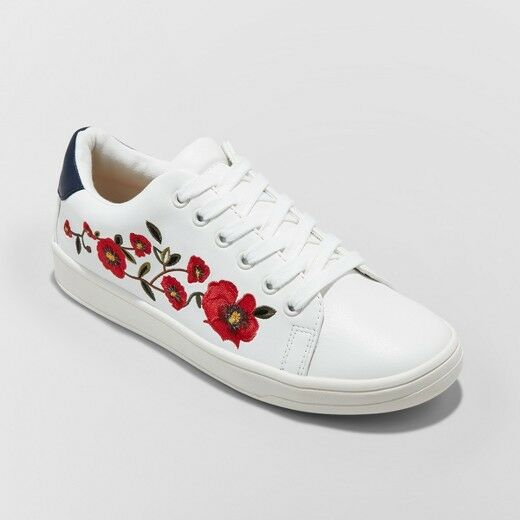 Women's Bebe Lace Up Embroidered Sneakers - A New Day™ White
