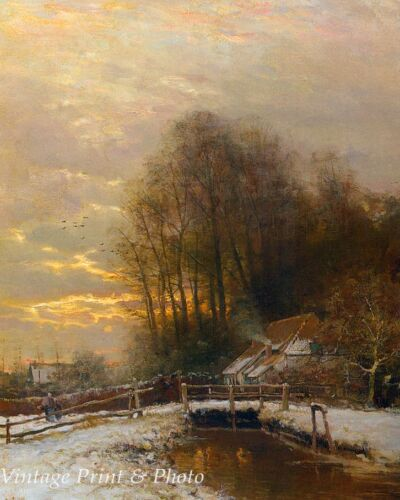 A Winter Landscape Scene by Louis Apol  8x10 Print 374 Snow Bridge Frozen Art