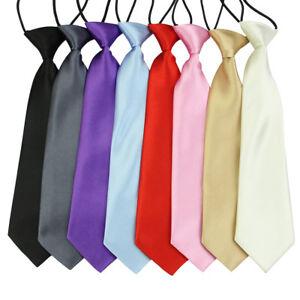 New School Boys Kids Children Baby Wedding Solid Colour Elastic Tie Necktie