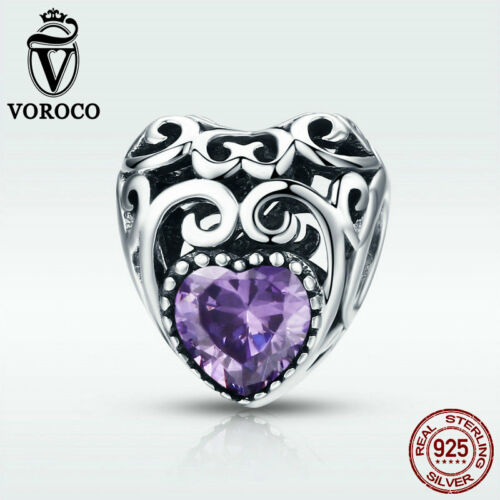 Voroco 12 Colors 925 Sterling Silver Birthstone Charm Bead Fit Bracelet Jewelry