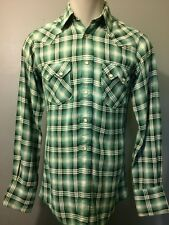 Vtg Western Pearl Snap Shirt Rayon Shadow Plaid Mens Small Cowboy Rockabilly VLV