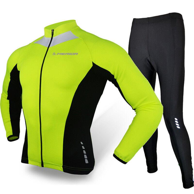 Merida Mens Cycling Clothing Long Sleeve  Cycle Jersey Pants Set Reflective Green  fashionable
