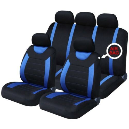 13 ON FRONT /& REAR CAR SEAT COVER SET FIAT 500L BLUE WOVEN FABRIC