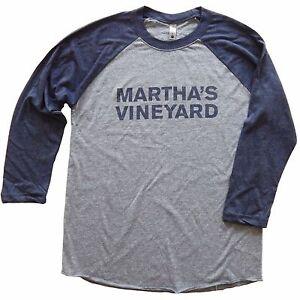 Martha-039-s-Vineyard-Vintage-Baseball-Style-T-Shirt-Men-039-s-Unisex-Free-Shipping