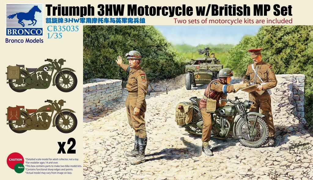 Bronco Models 1 35 Triumph 3HW Motorcycles (X2) with British MP Figures