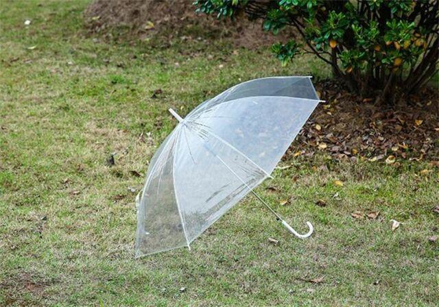 Fashion Straight Shank Transparent PVC Rain Umbrella Dome Wedding Party Favor