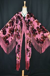 Kimono Gypsy Duster Burnout Classic Pink Coat Velvet Rose Fringe Jacket Hippie q0FYAa