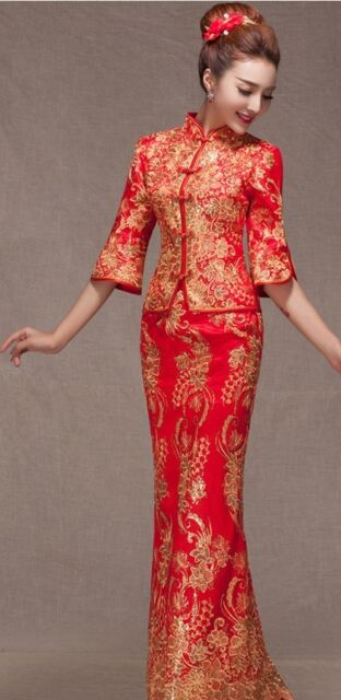 Chinese Wedding Dress.Chinese Wedding Dress Qipao Kwa Cheongsam Fashion Custom Make Avail