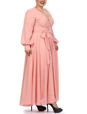 Plus Size Blush Pink Chiffon Full Sweep Faux Wrap Maxi Dress XL 1X
