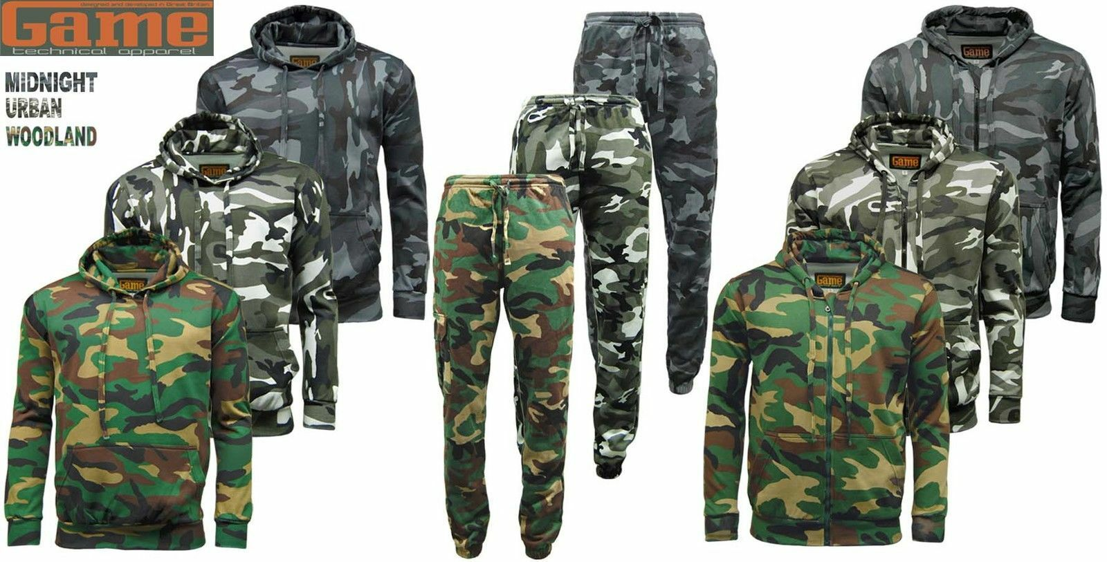 Mens GAME Army Camo Camouflage Fleece Tracksuit | Hoodie | Zipper | Joggers
