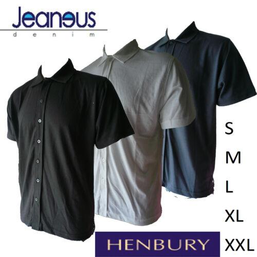 L HENBURY H430 UOMO COMPLETO Pulsante Manica Corta Camicia Polo S XXL 3 colori M XL