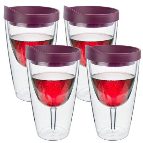 Wein Becher Isoliert Doppelwand Acryl Merlot Getränk Deckel 2go 473ml 4 Pack