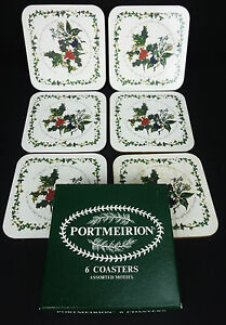 6 Square Cork Backed Coaster Holly & Ivy by Portmeirion