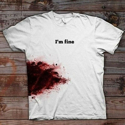 Women Personality Print Funny I'm Fine Blooded Cotton T-shirt Casual T-shirt Top