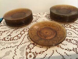 Lot-of-8-Tiara-Amber-Sandwich-Glass-Saucers