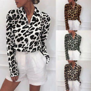 Women-039-s-V-Neck-Leopard-Print-Loose-T-Shirt-Long-Sleeve-Casual-Tops-Blouse