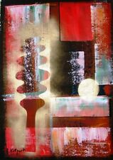 REGENBOGEN-ART *graphisches in rot 2* Acryl Orig. Kunst Kilgert ca. 40x55