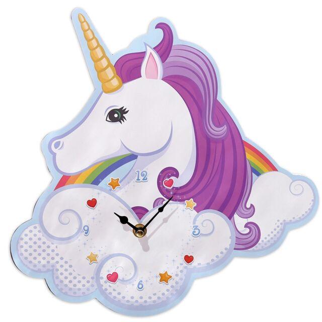 Rainbow Unicorn Wall Clock Shaped Wooden Children's Bedroom Gift 31cm x 30cm