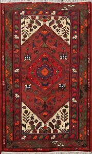Geometric-Traditional-Hand-knotted-Tribal-Hamedan-Area-Rug-3-039-x5-039-Wool-Carpet