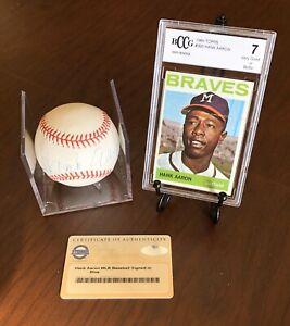 👍HOF Steiner Hank Aaron autographed baseball & 1964 Topps Card Combo!👍
