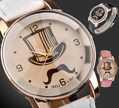 41mm Mustache Hat Girl Womens PU Leather Dial Rosy Gold Case Quartz Analog Watch