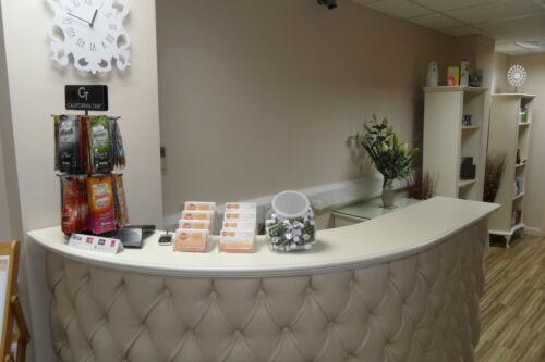 curved l shape reception desk salon desk retail cash desk - Salon Reception Desk