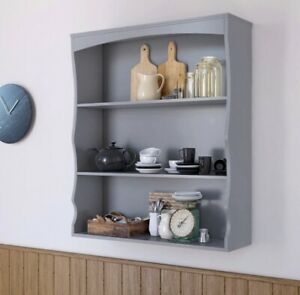 Details About Wall Mounted Kitchen Cabinet Grey Display Shelves Storage Es Rack Wooden