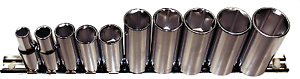 "10 Piece 3//8/"" Drive SAE Deep Sockets 12 Point T/&E Tools 93510"