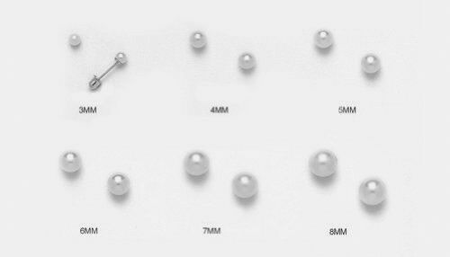 Solid 925 Sterling Silver 8mm Round AAA Cultured Pearl Screw Back Stud Earrings