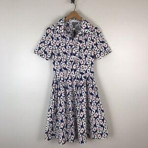 Frock-Shop-ModCloth-Azul-Ace-de-Smarts-Camisa-Vestido-Impresion-De-Tarjeta-De-Juego-Nuevo-con