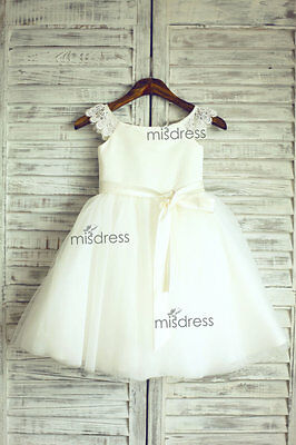 Lace Tulle Cap Sleeves TUTU Flower Girl Dress Wedding Easter Junior Bridesmaid