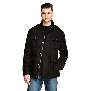 83bfeff51086 Merona Men s Four-Pocket Turtleneck Wool Coat Jacket Ebony Black ...