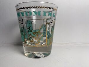 Vintage-Wyoming-Shot-Glass-Aqua-Gold-Sightseeing-Devils-Tower-Ayers-Hell-Half
