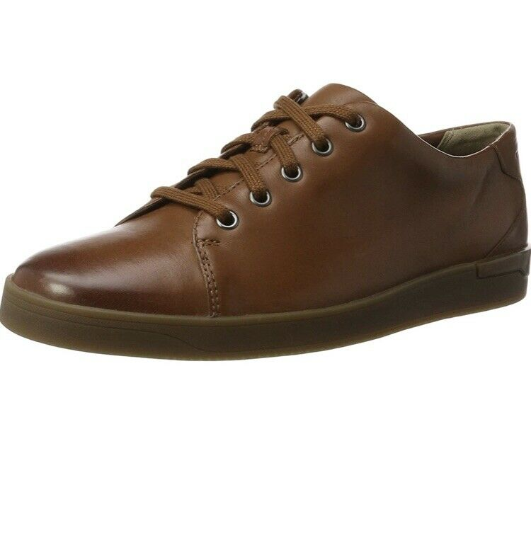 CLARKS MENS 'STANWAY LACE' TAN LEATHER LACE UP SHOES. Uk 10.5 G